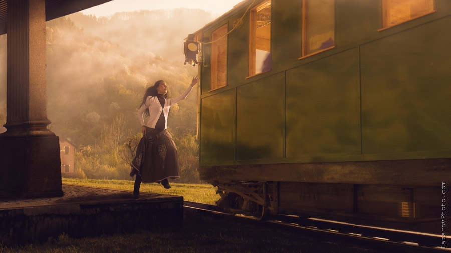 Catching a train by Tihomir Lazarov