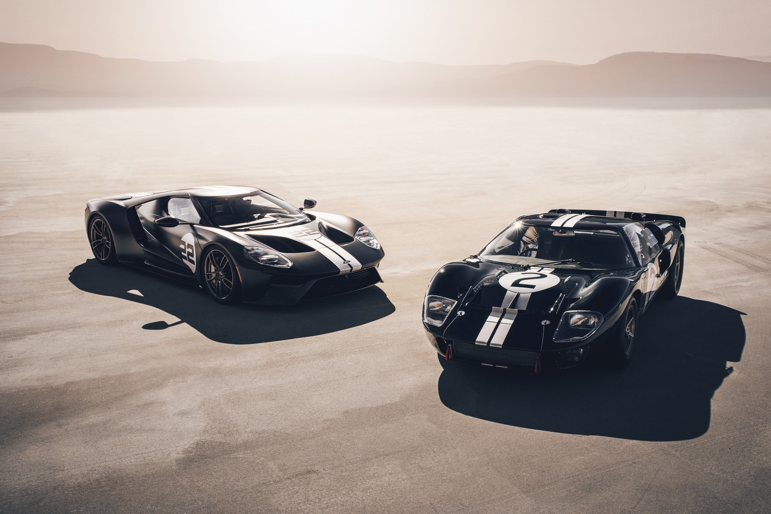 2017 Ford GT Heritage Edition and the 1966 Le-Mans-winning Ford GT40 by Dominic Mann