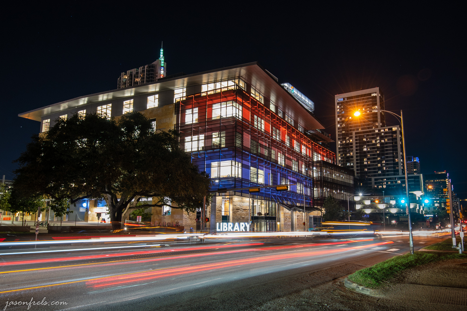 Austin Central Library at Night by Jason Frels
