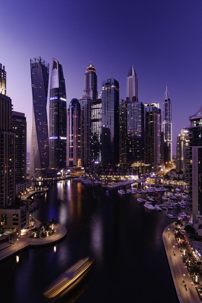 Dubai Marina at sunset by Ron Cunningham
