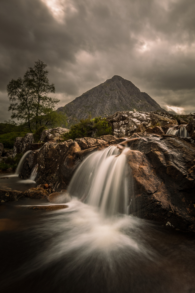 Etive Mor Waterfall by Ron Cunningham