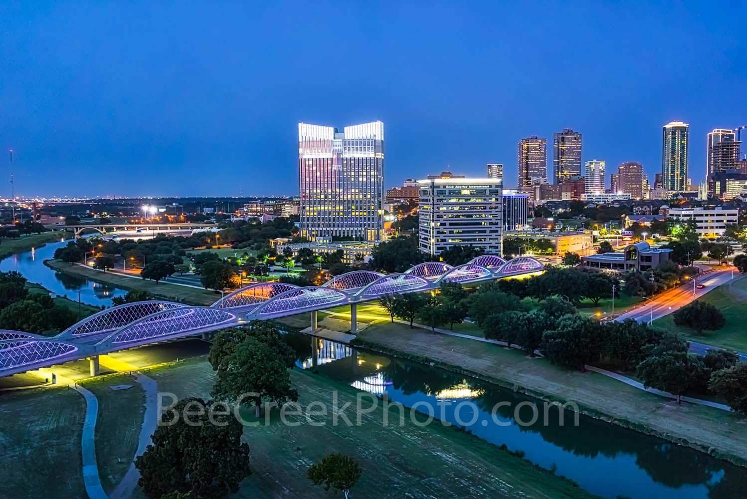 Fortworth Texas Aerial night  by Tod Grubbs