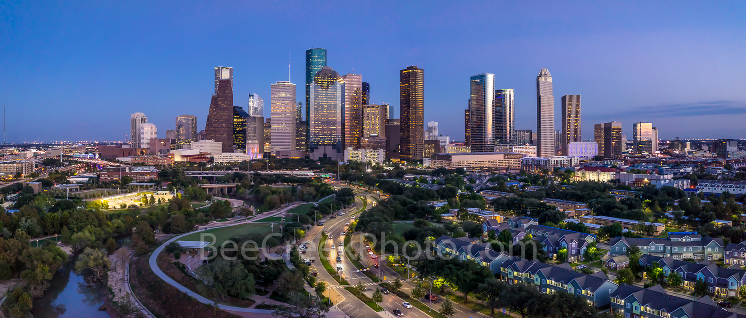 Houston Aerial at after sunset by Tod Grubbs