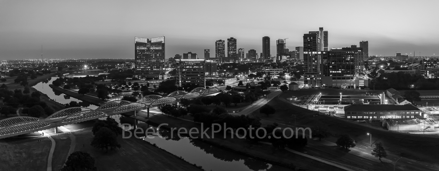 Forthworth sunrise aerial BW by Tod Grubbs