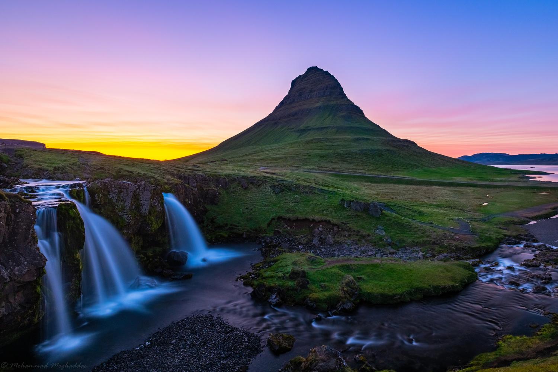 Kirkjufell mountain and Kirkjufellsfoss waterfall at sunset! by Mo Moghaddas