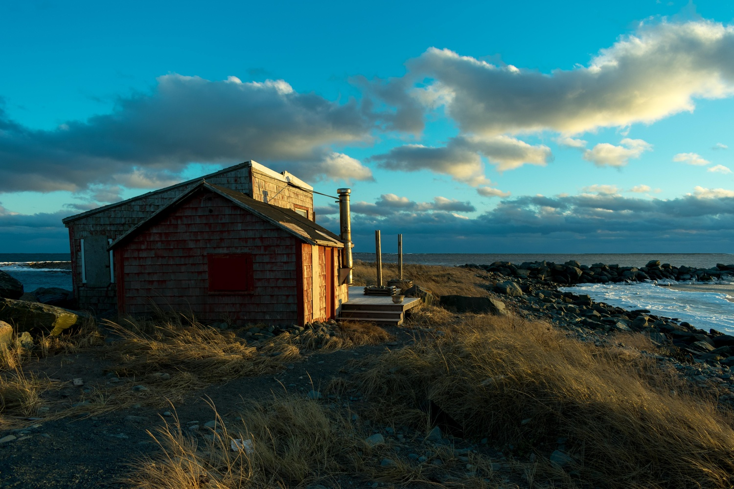 Red Shed at Fishermans Reserve Three Fathom Harbour by David Swanson