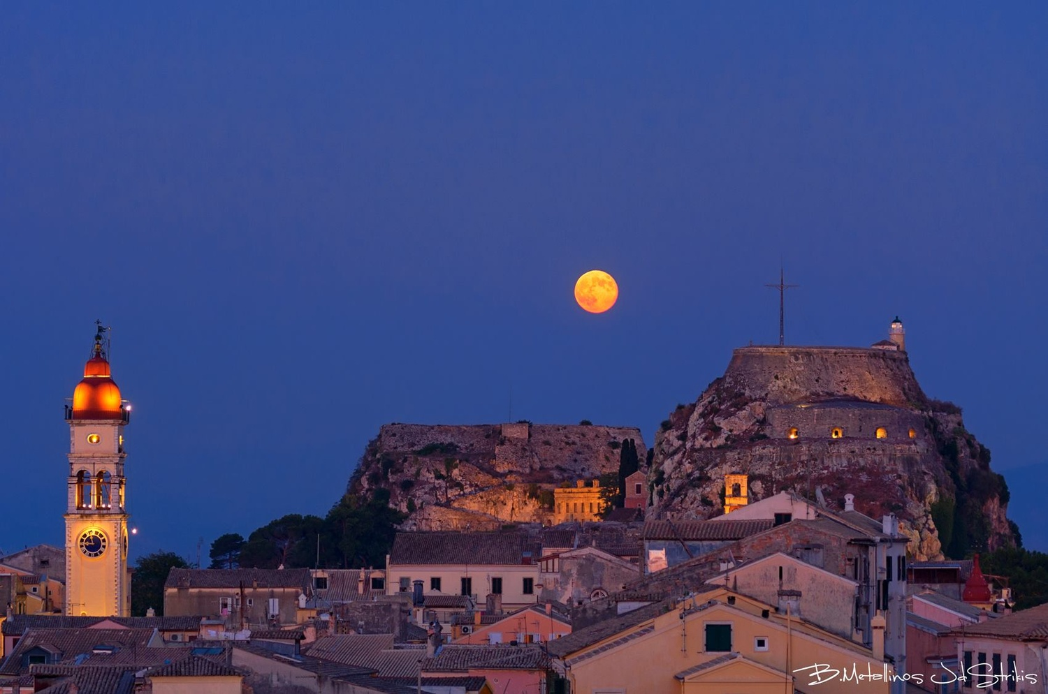 Full Moon above the Old town of Corfu by Bill Metallinos