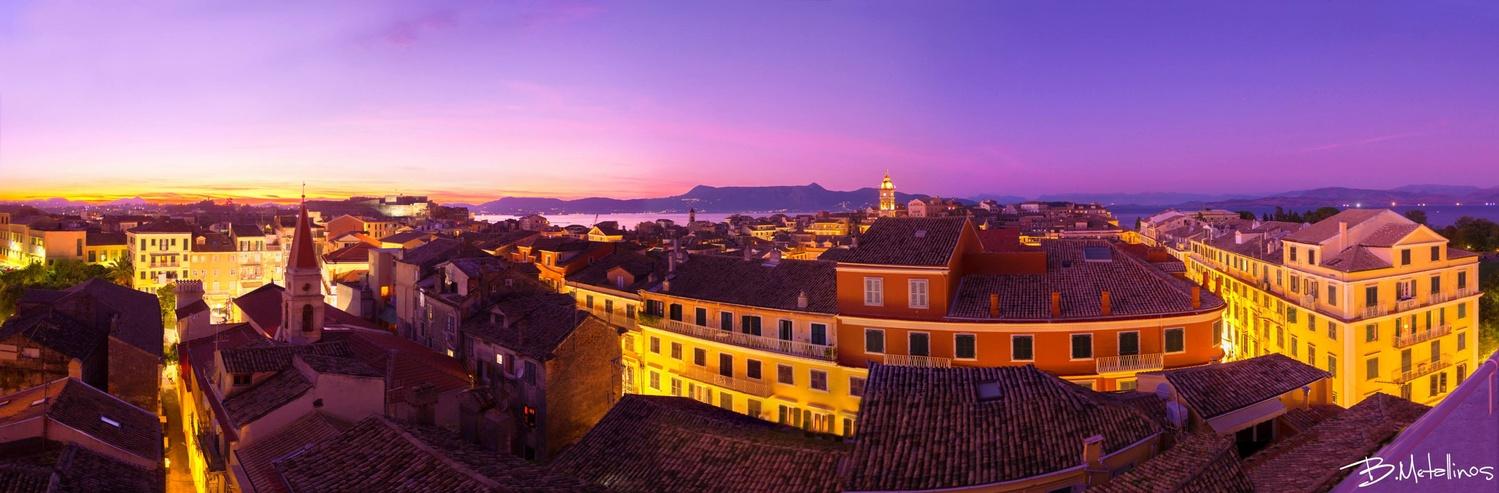 Corfu old town at twilight by Bill Metallinos