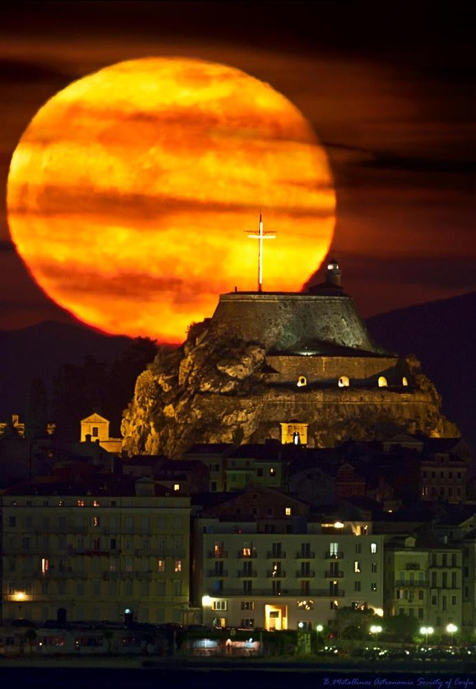 Supermoon, Old Fortress of Corfu by Bill Metallinos