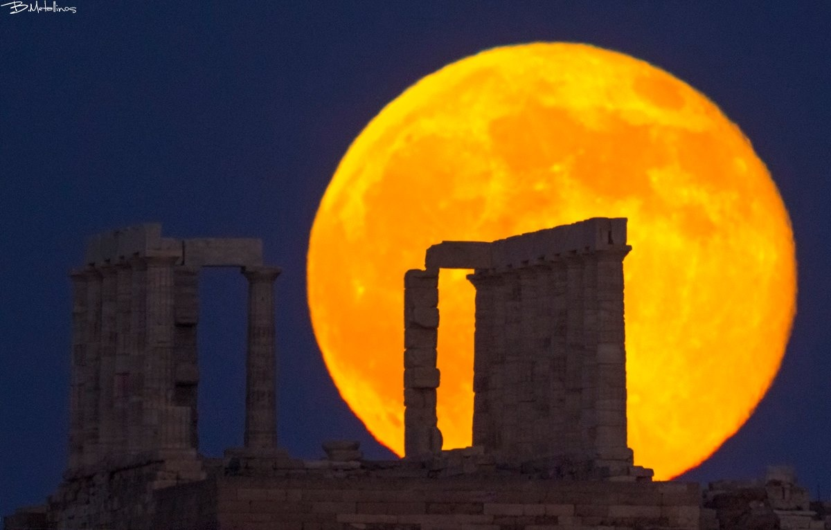 Temple of Cape Sounion, Full Moon by Bill Metallinos
