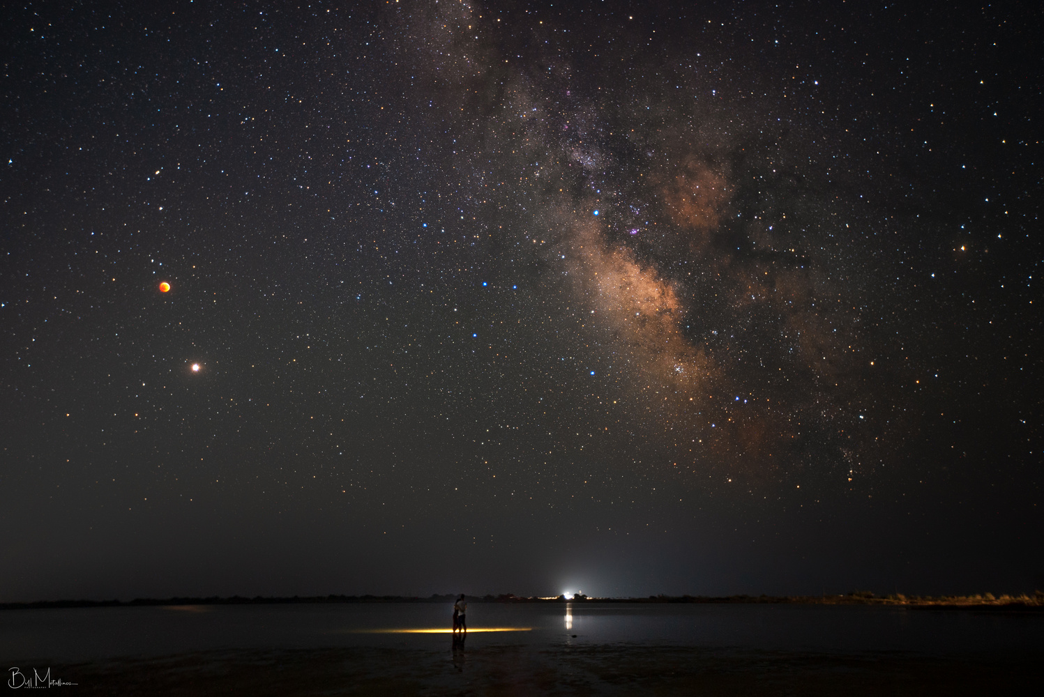 In love with Total Lunar Eclipse, Milkyway and Mars Conjunction by Bill Metallinos
