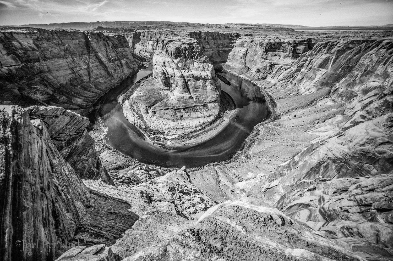 Horseshoe Canyon in monochrom by joel penland