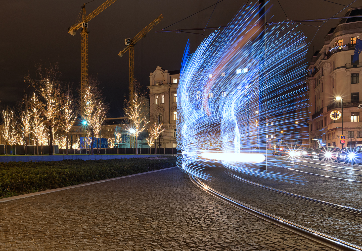Christmas tram is about to turn by Gabor Szarvas