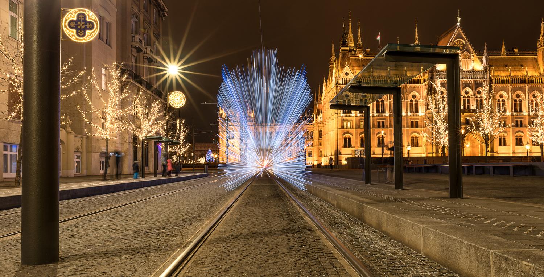 Christmas tram turned into light speed by Gabor Szarvas