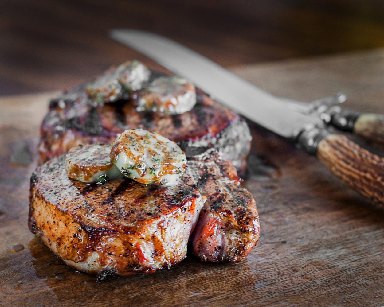 Grilled pork chops by John Dawson