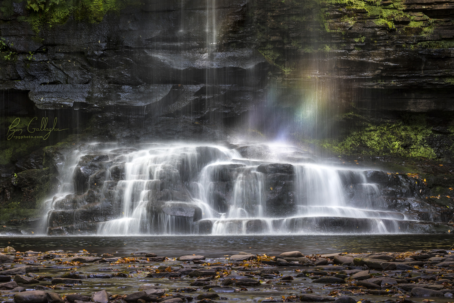 Rainbow in Harrison Wright Falls by Ryan Gallagher