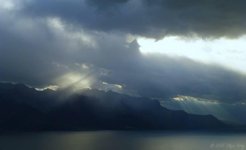 Geneva Lake from Montreux by Olga Sergyeyeva