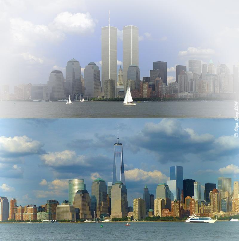 Twin Towers and Freedom Tower by Olga Sergyeyeva