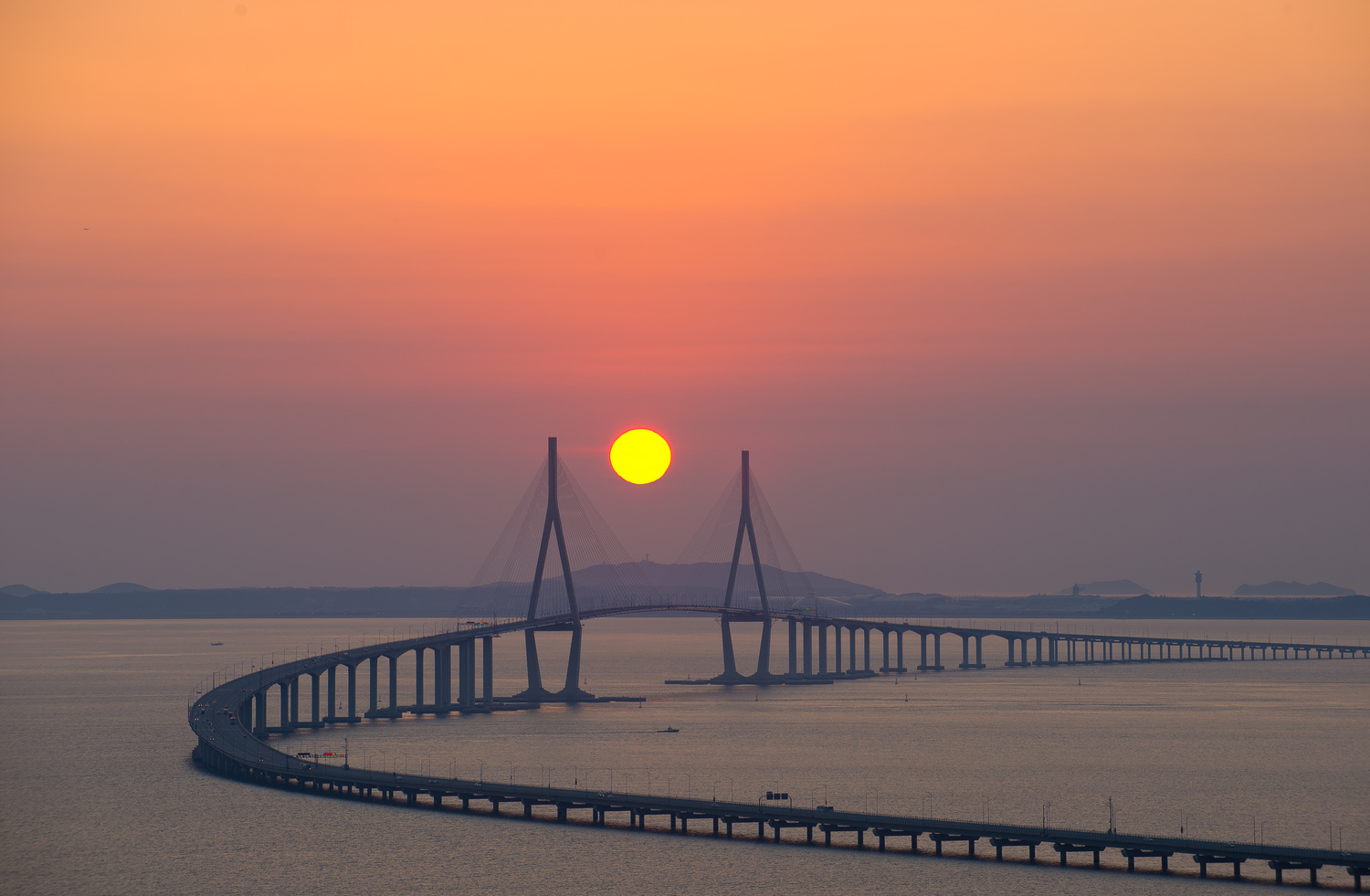 Incheon Bridge Sunset by Justin Howard