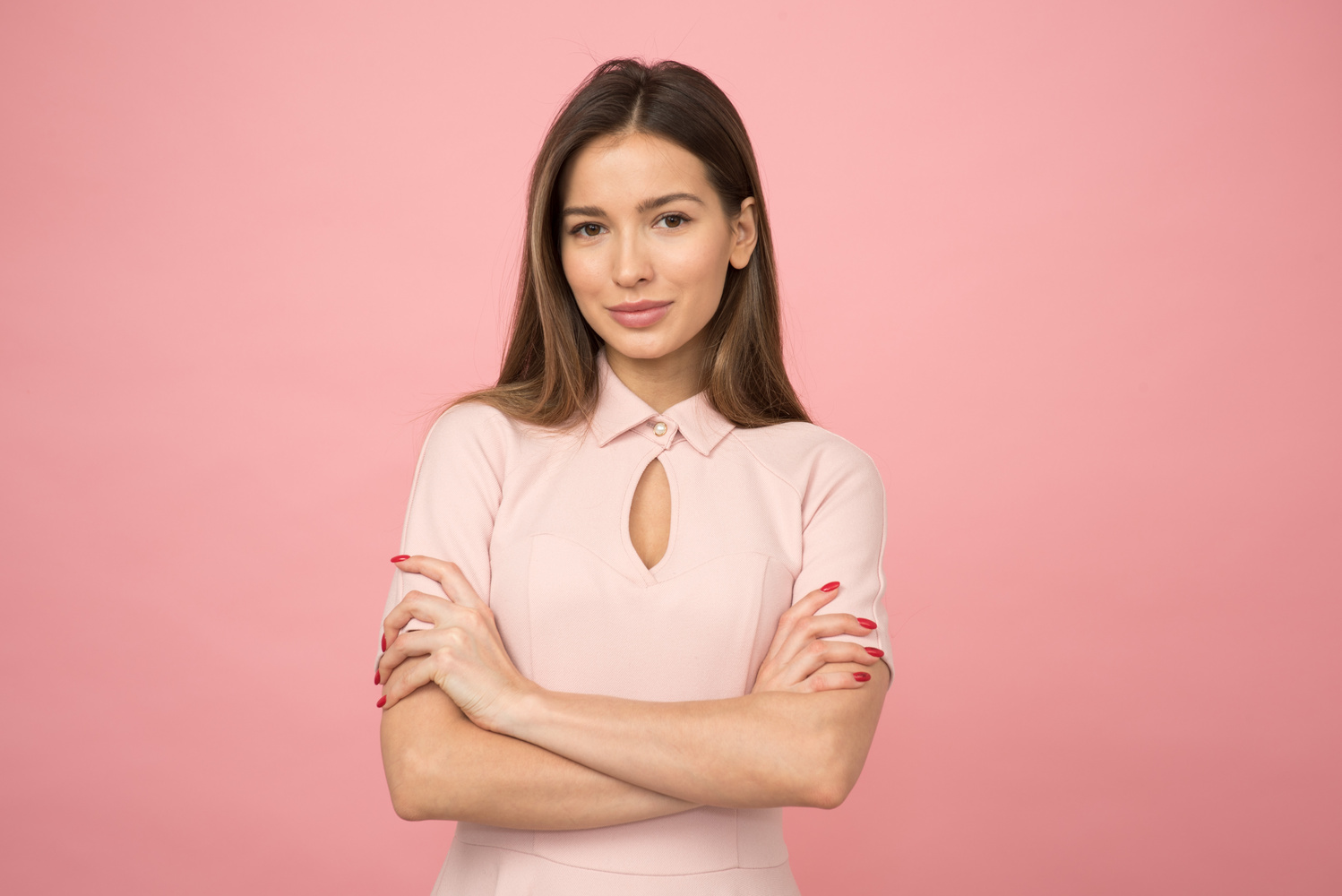 Beautiful woman on pink background by Ivan Boyko