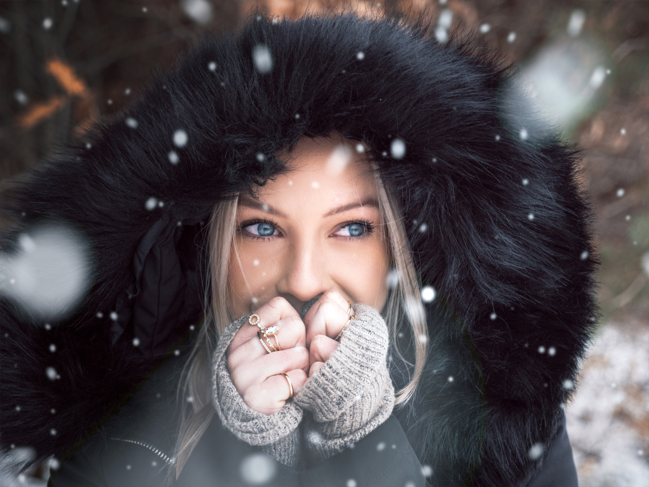 Portrait of Em in the snow  by Logan Armstrong