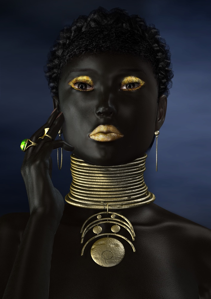 Girl with neck rings by Philip Morgan
