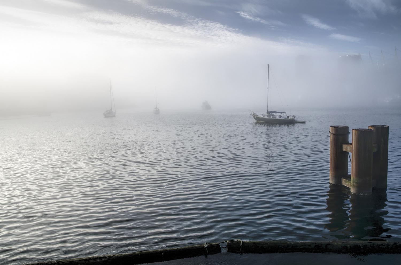 Sailboats Push Through The Fog by Ken Stewart