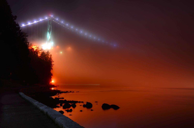 Lions Gate Bridge in the Fog by Ken Stewart