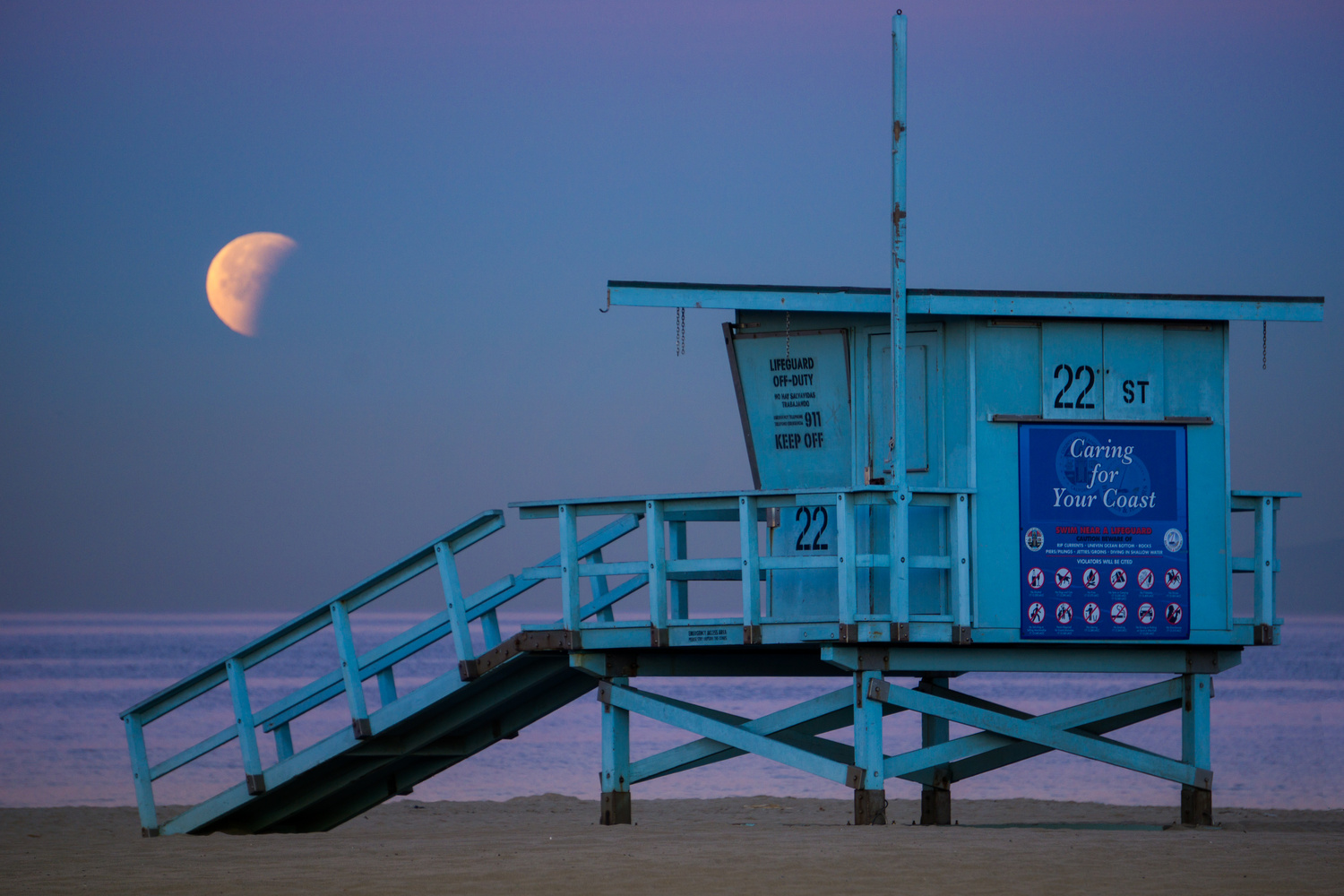 Moonset Over Hermosa by Allen Ng
