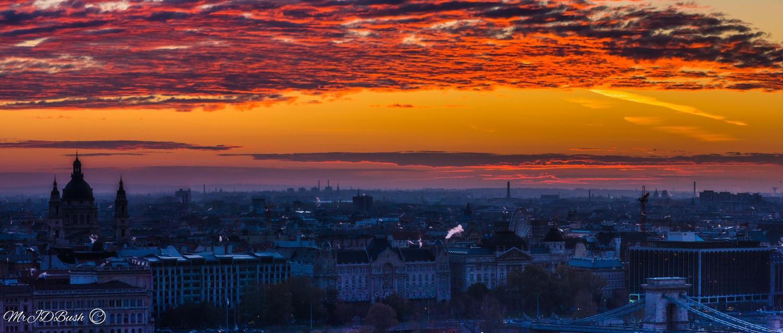 Budapest Hungary Dawn Panorama by James Bush