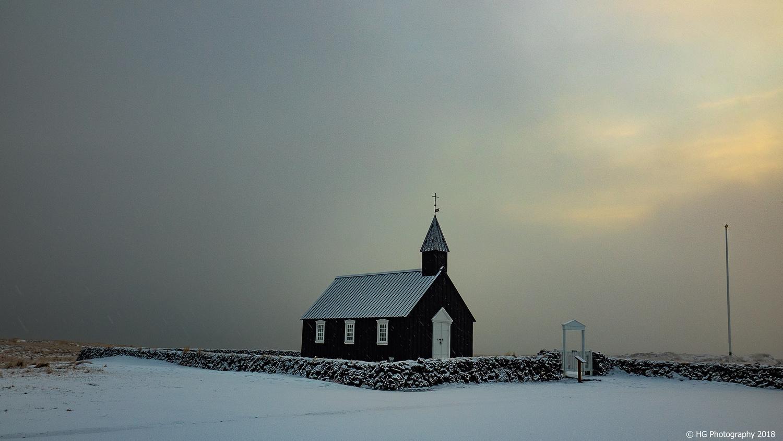 Black church between dark and light by Henk Goossens