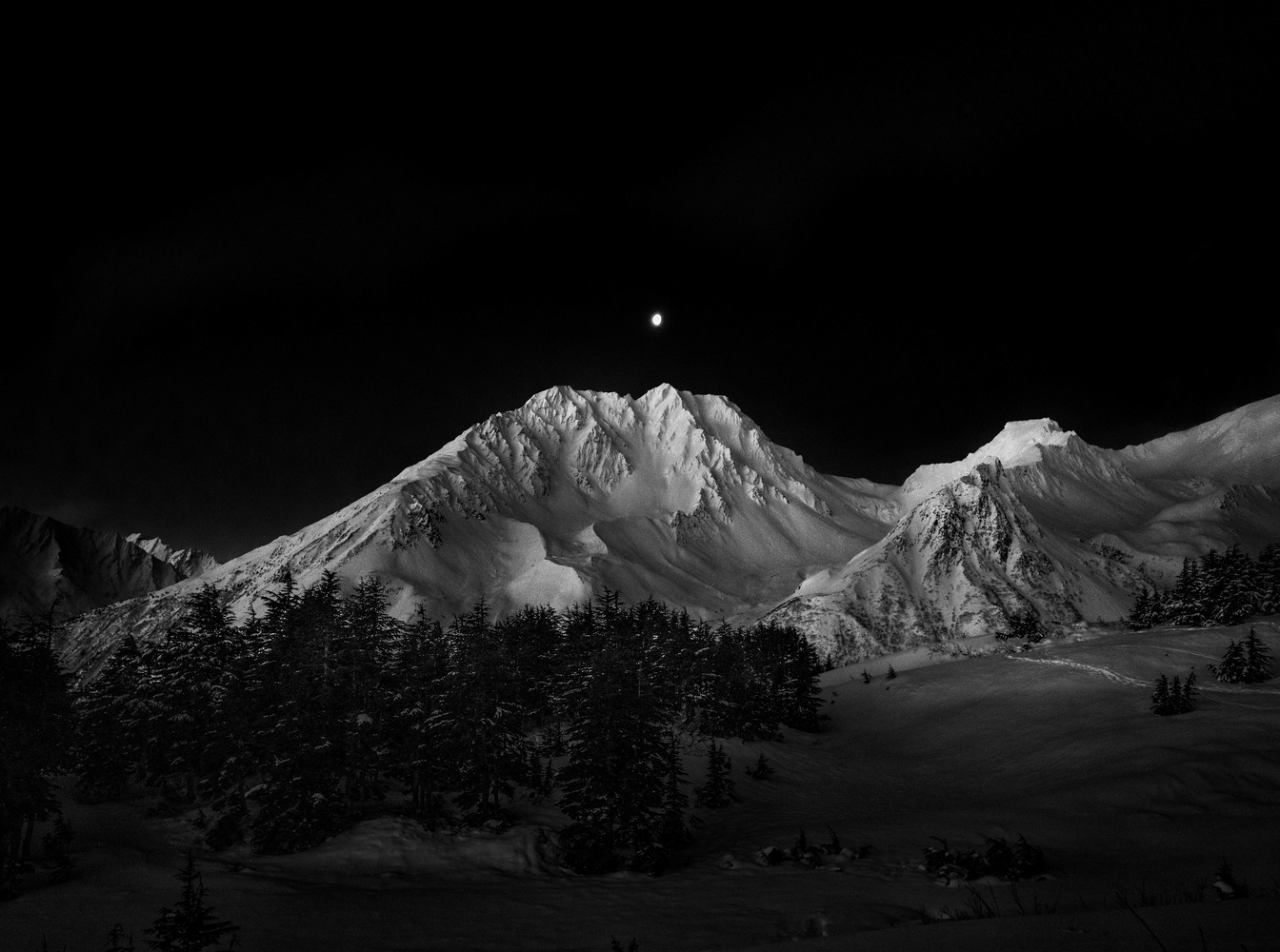The Moon Over Resurrection Peaks (B&W) by TYLER YATES