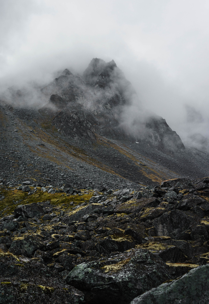 Clouds, Mountains, Rain, and Talus Fields by TYLER YATES