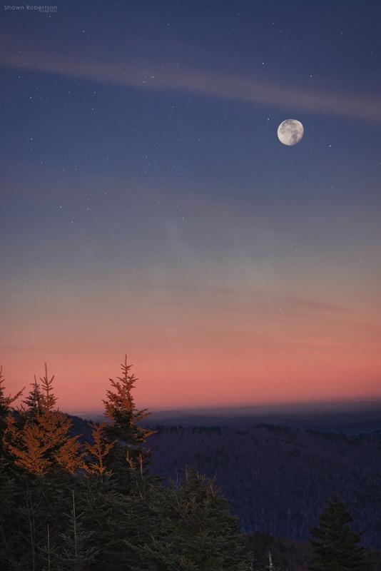 Blueridge Moonset by Shawn Robertson