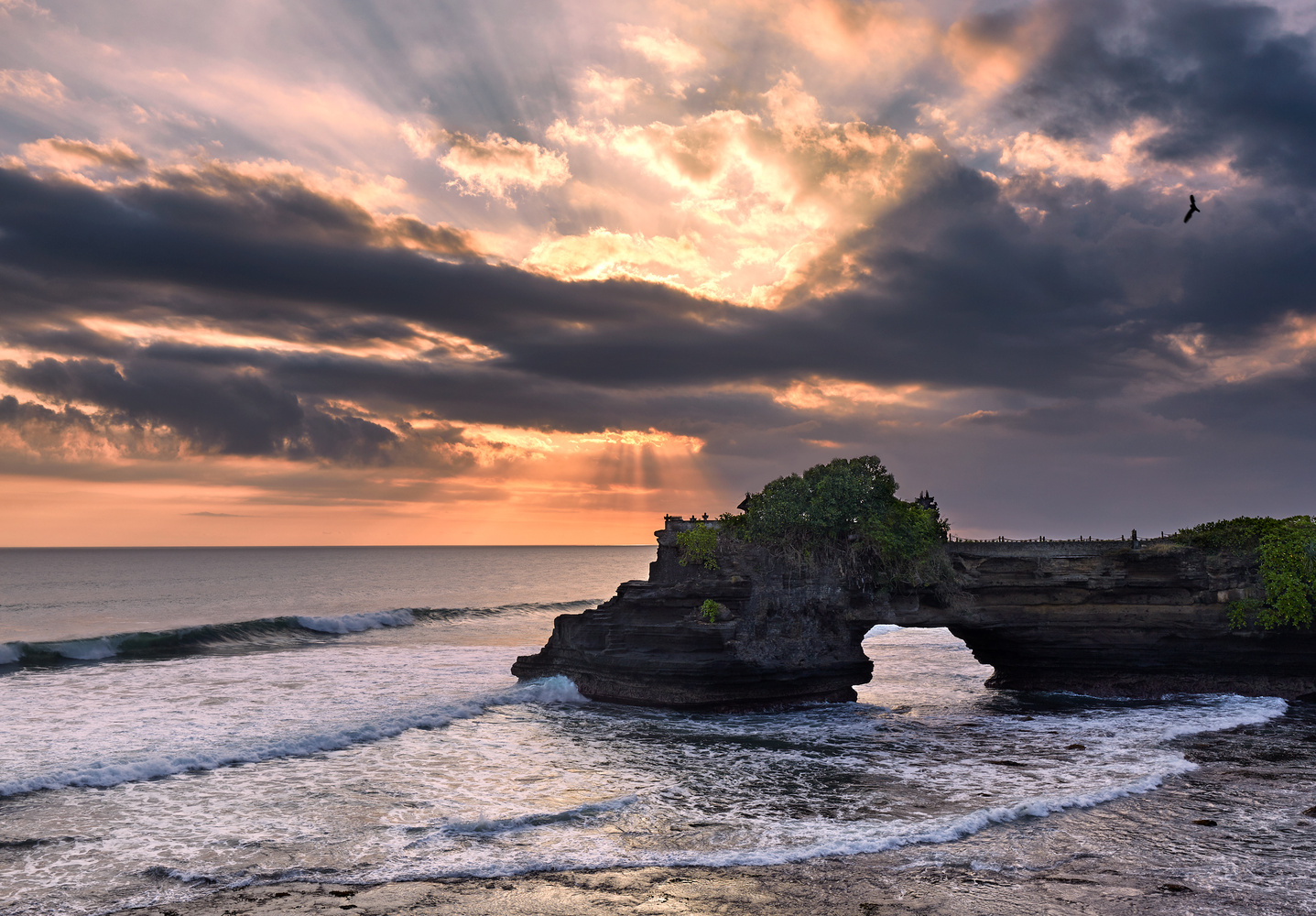 Exploding sunset - Tanah Lot Temple by Kevin Gewinner