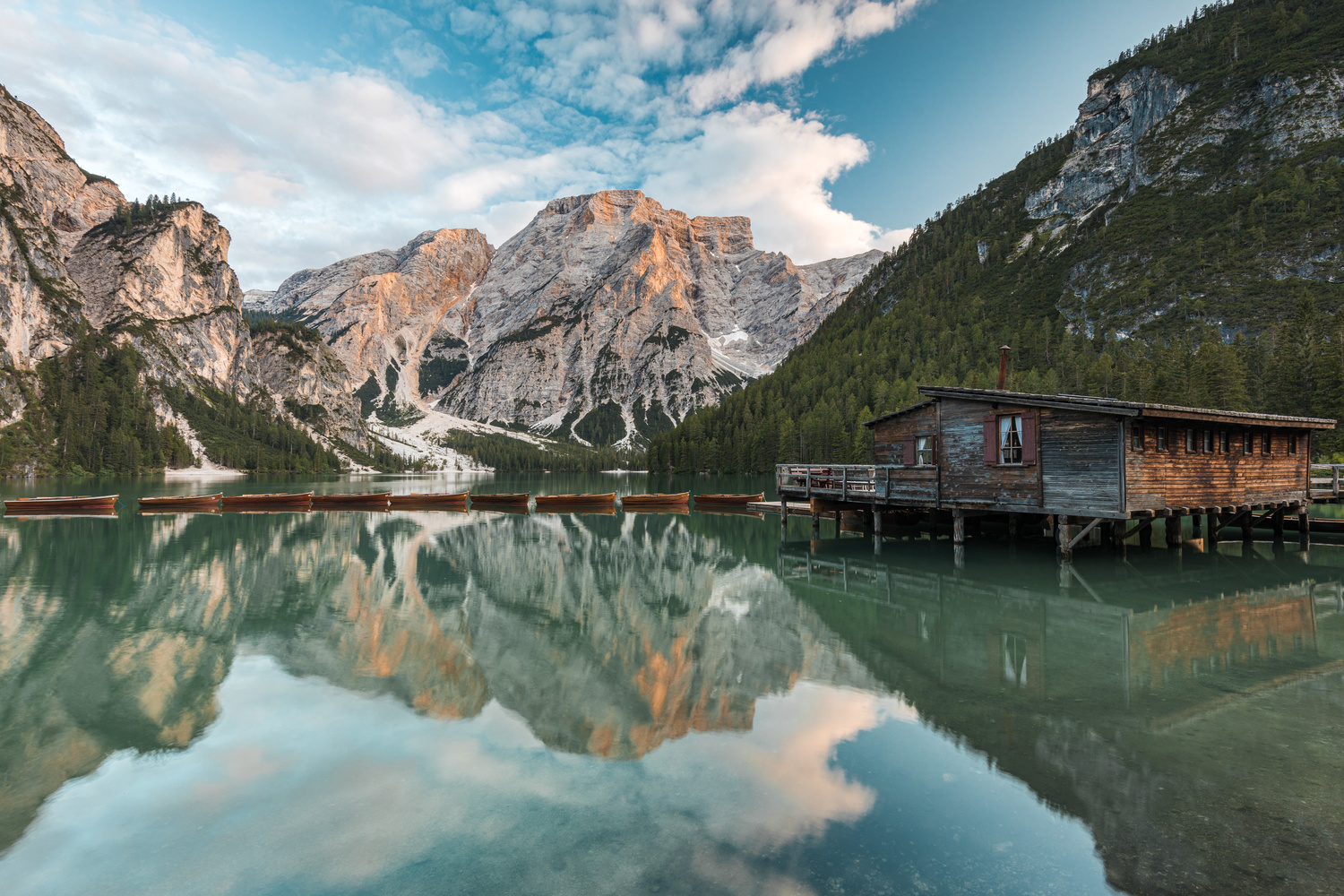 Boats on Lago di Braies by Mike Huberts