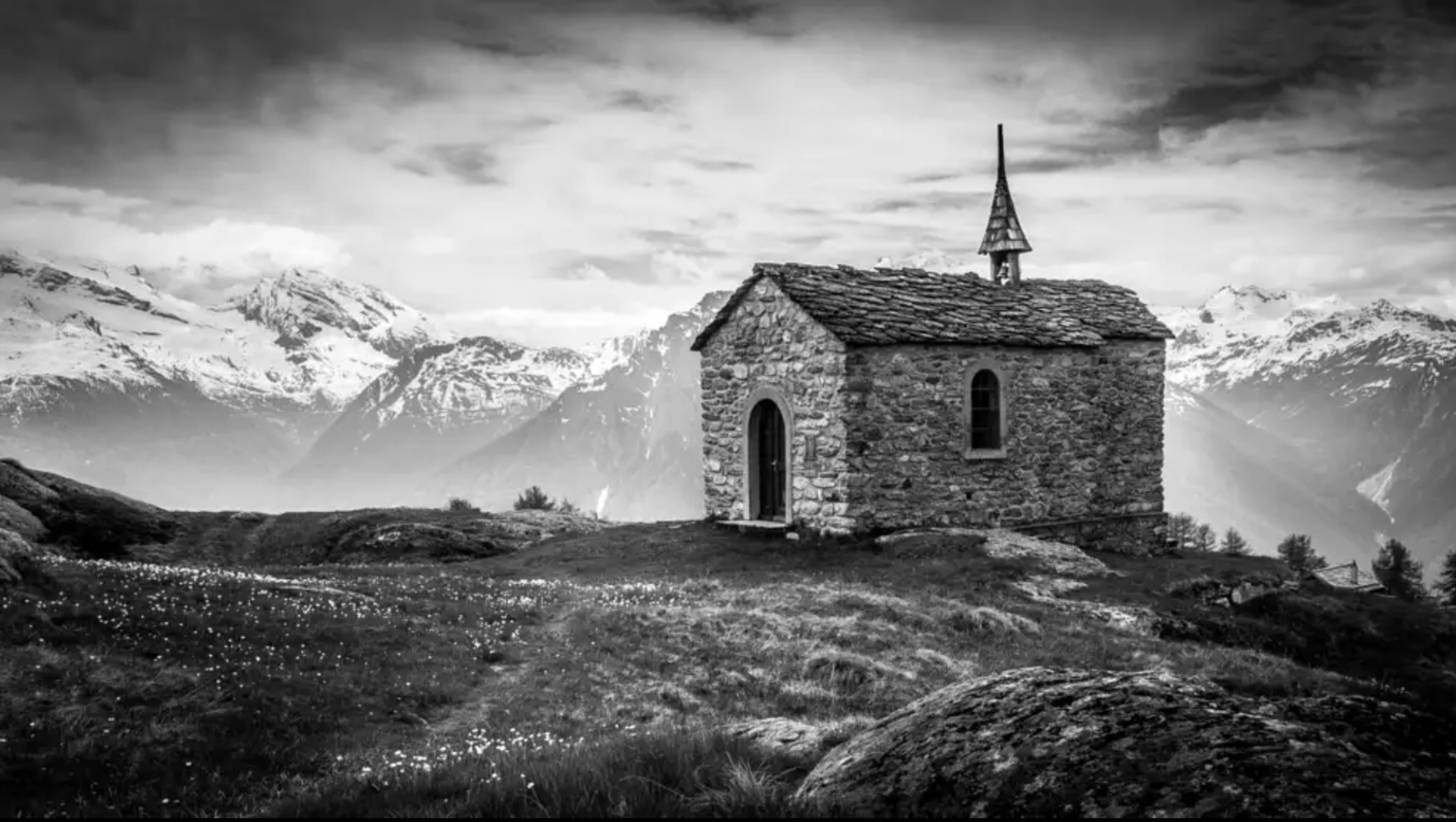 Chapel in the mountains (Switzerland) by Joel V