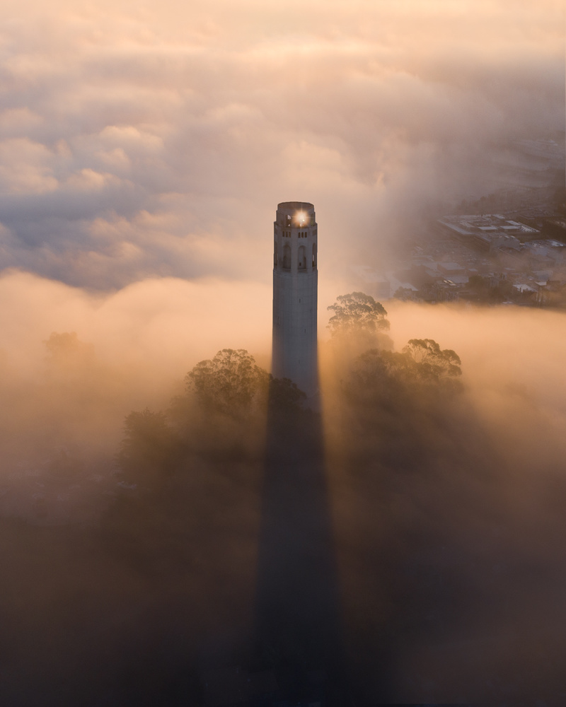 Low Fog at Coit Tower by Ryan Fitzsimons