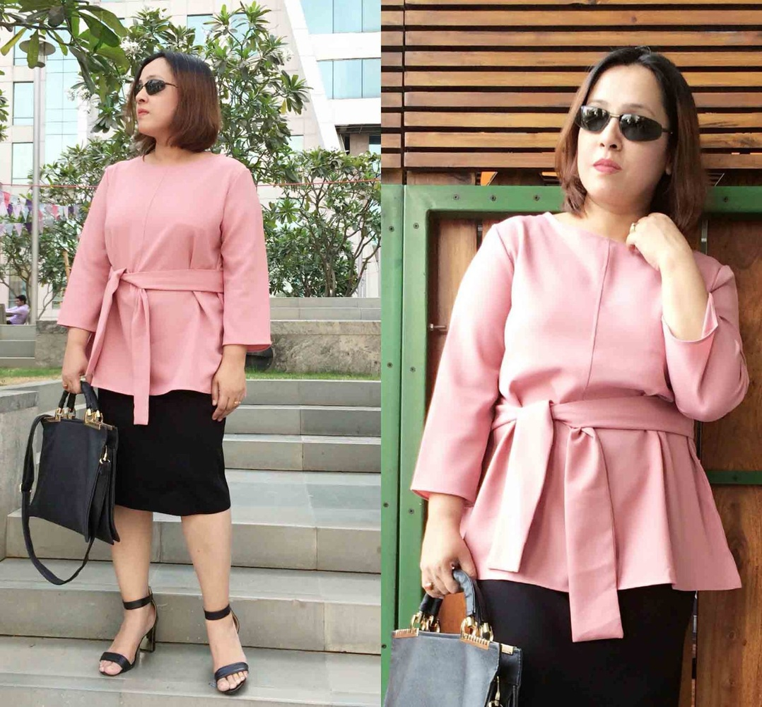 Belted Pink Top: Rosegal | Pencil Skirt: Misook | Black Strap Sandals: Vicenza | Bag: Lavie | Sunglasses: Lenskart by Dee Sayz