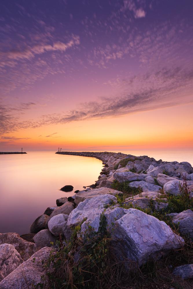 Sunrise at the port by Tiberiu Scarlat