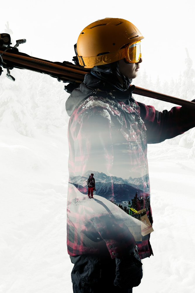 Skiing Double Exposure by Brandon Adam