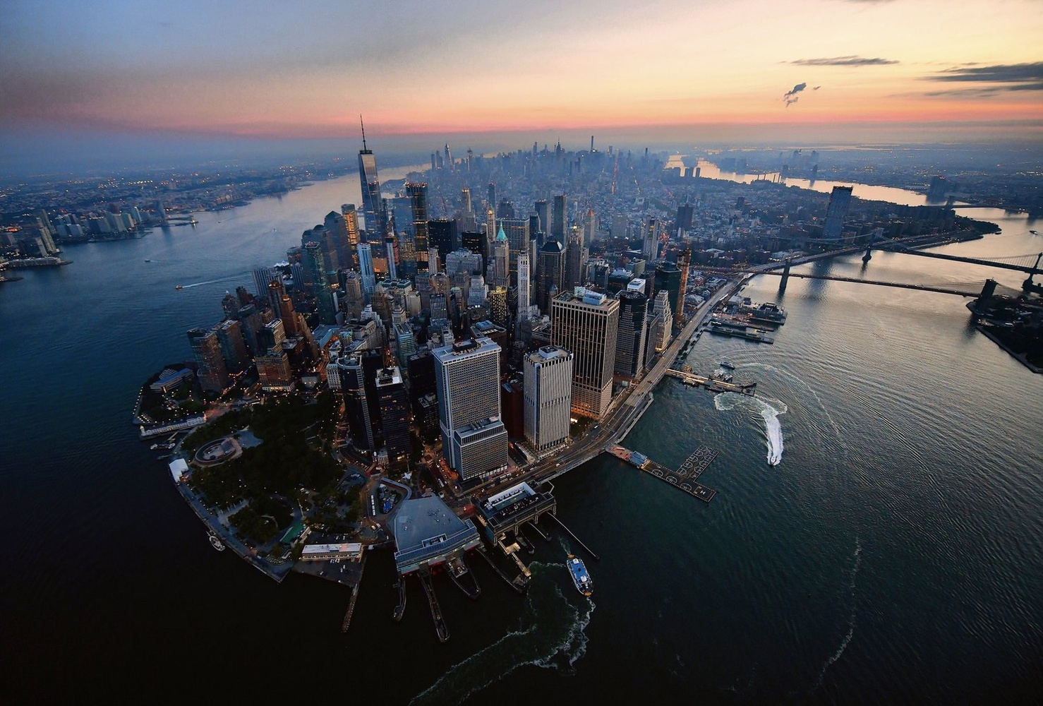 Manhattan Dawn Aerial by Peter Massini