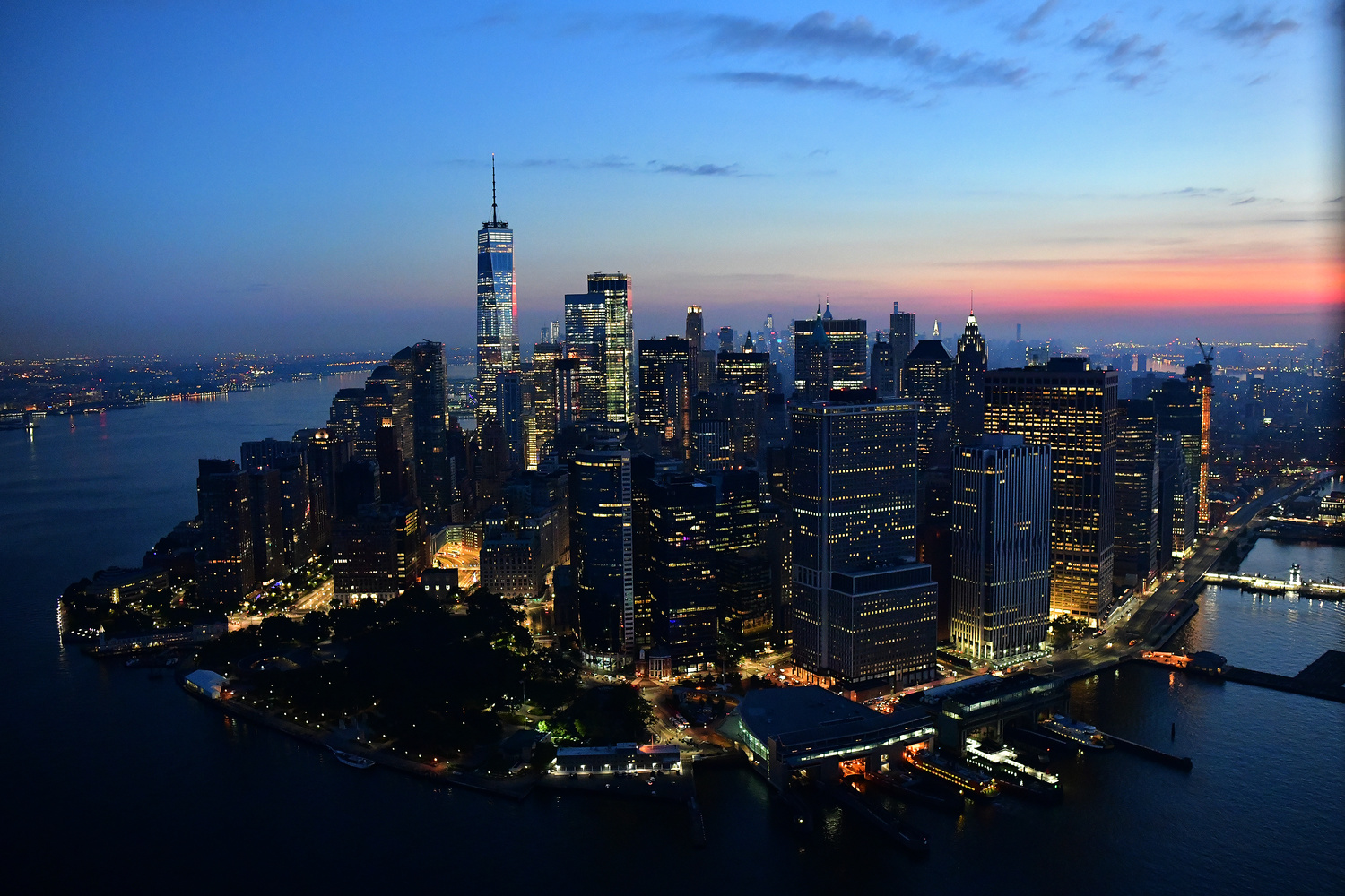 Manhattan Helicopter shot at dawn by Peter Massini