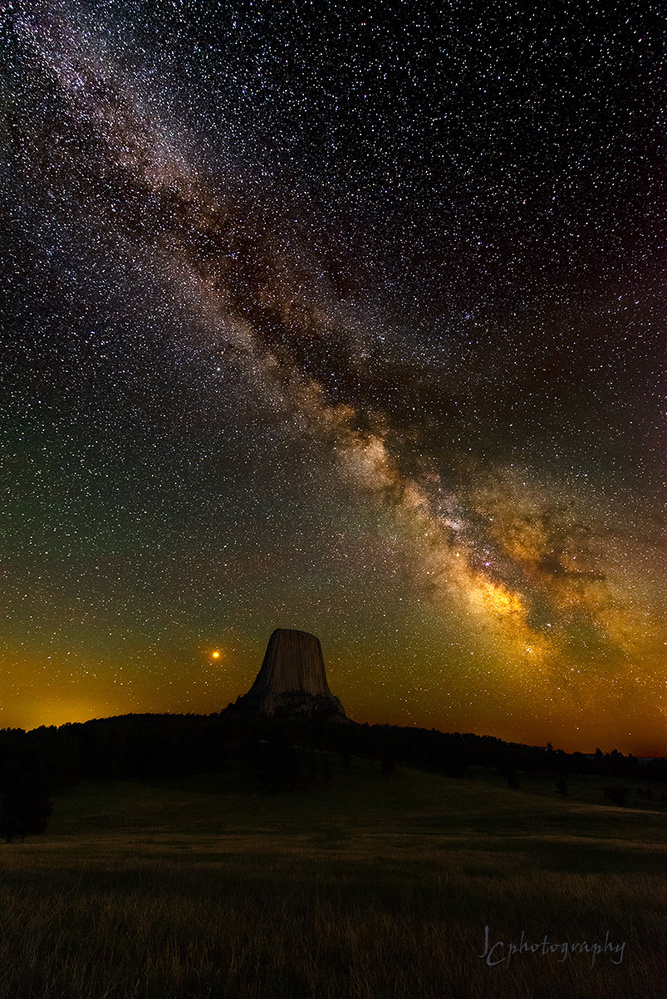 Mars and the Milky Way above Devil's Tower by Jim Craft