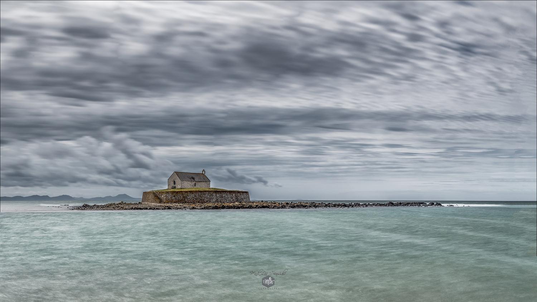 St Cwyfan's Church, Llaneilian.(Church on the Sea) by Mark Heavisides