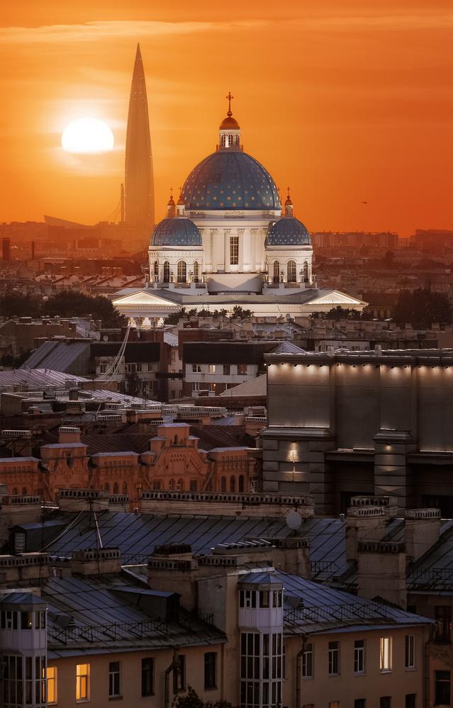Trinity cathedral, Lakhta center by Mikhail Proskalov