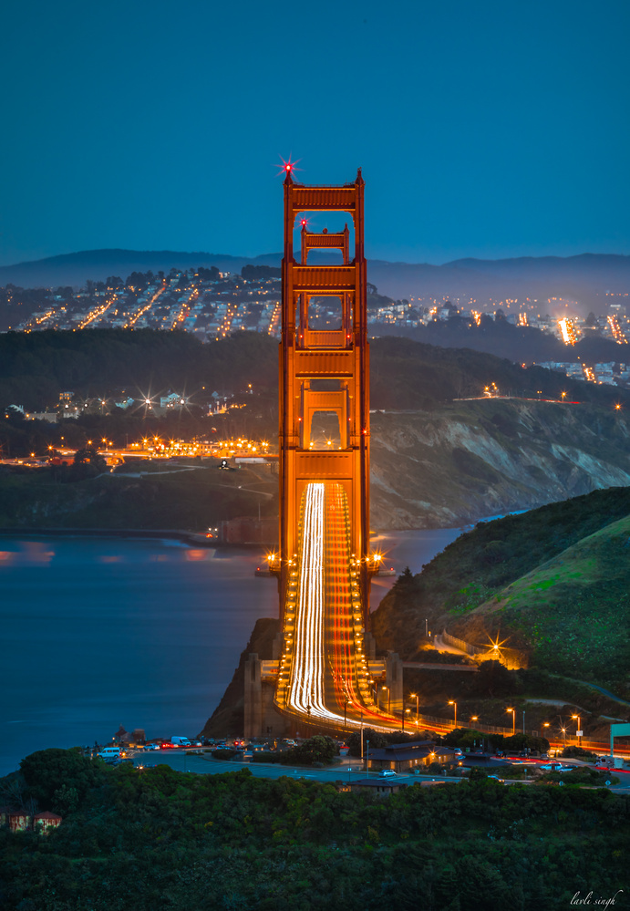 Blue hour at Golden Gate Bridge. by Chamkaur Singh