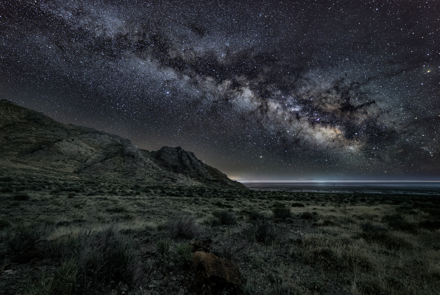 Silver Island Mountains Milky Way by Collin Riley
