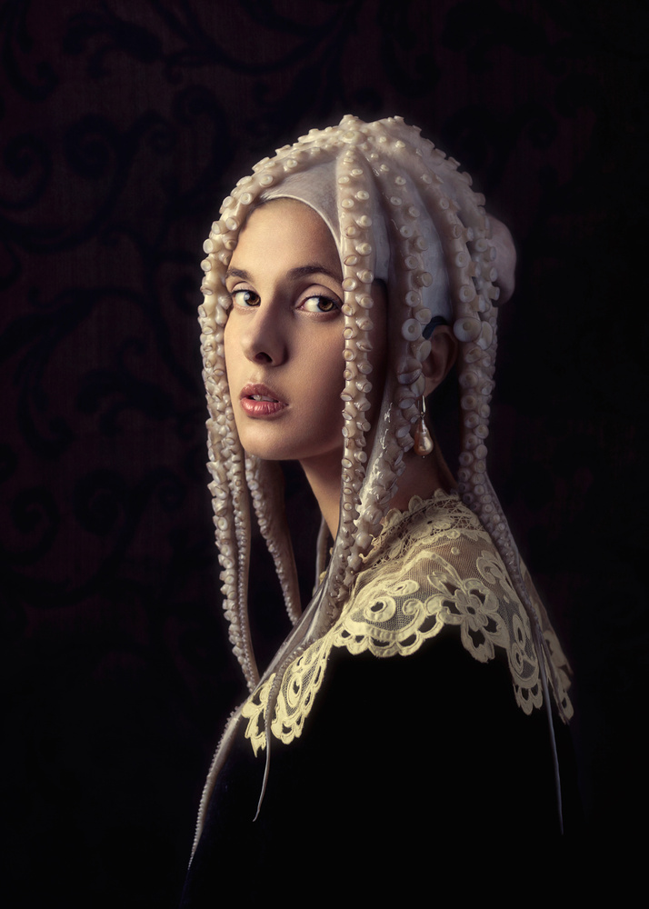 Girl with a Pearl Earring and an Octopus by Giulia Valente