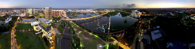 Richmond VA Twilight Drone Panorama by Ryan Walters